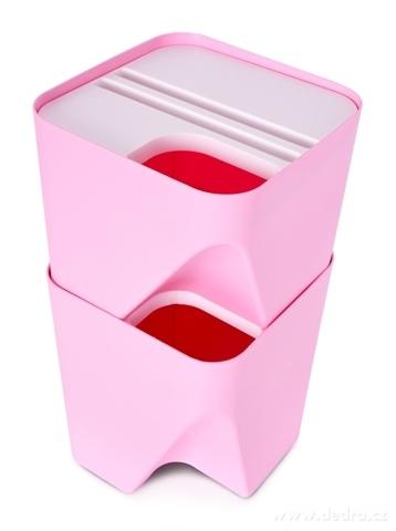 DA20601-TOTEMUS dizajnový kôš stohovateľný, ružový