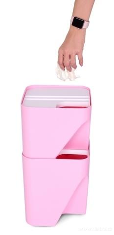 DA20591-TOTEMUS dizajnový kôš stohovateľný, ružový