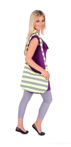 FC20921-STRIPES pruhovaná textilné kabelka neon yellow & gray