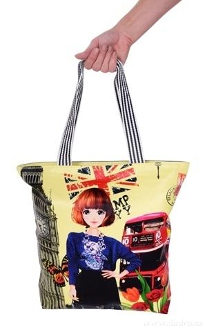 FC21911-Elegantná kabelka v prednej časti z ekokože London bus & lady