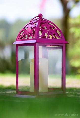 DA746221-Kovová lucerna fuchsiová 16,5 x 16,5 x 35 cm