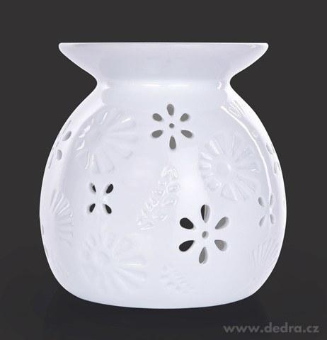 DA22464-Keramická aromalampa na čajové sviečky s lesklou bielou glazúrou