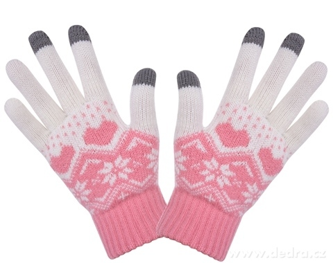 4d58af4b1b0 Dotykové zimní pletené rukavice starorůžové - Vaše DEDRA - oficiální ...