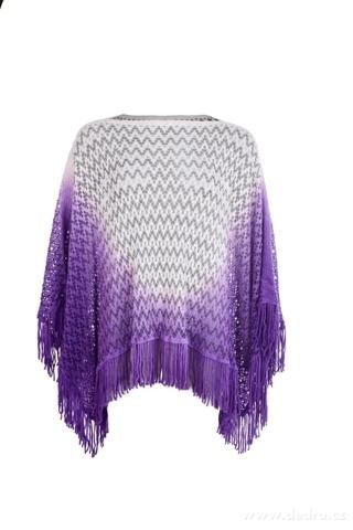 FC22982-CARMIN Ombre dámske pončo purple