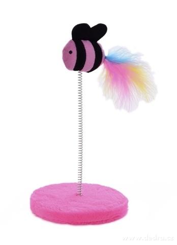 DA23811-Mačací hračka na pružnom perky ružová