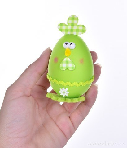 DA24541-2 ks kuriatko - vajíčko, veľkonočné závesná dekorácia s prepracovanými detailmi, bielo zelené