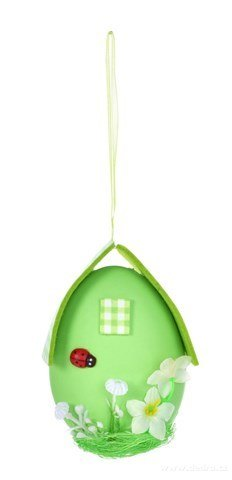 DA24521-Zelené vajíčko - domček, veľkonočné závesná dekorácia s prepracovanými detailmi