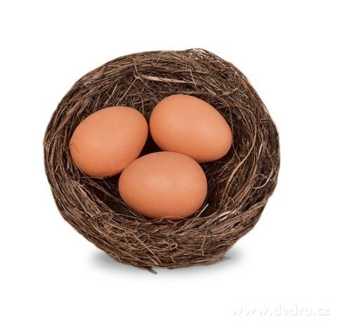 DA24561-Slamené hniezdo s tromi vajíčkami