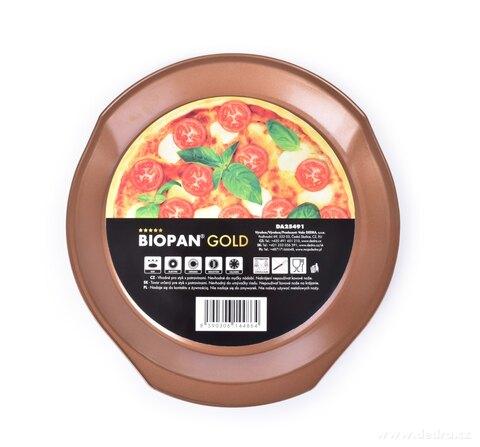 DA25491-PIZZA & HRANOLČEKY plech BIOPAN ® GOLD na pečenie pizze i hranolčekov s perforovaným dnom