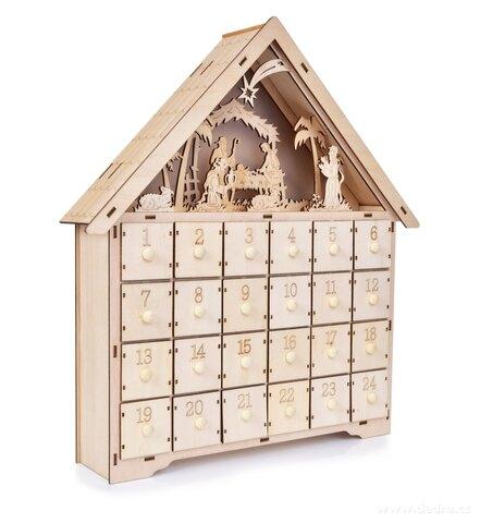 DA25585-42 cm Adventný drevený kalendár