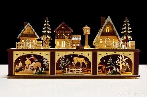 DA25582-21 cm Lesný dedinka s LED osvetlením