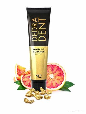FC25721-DEDRA DENT zubná pasta Goldline & ORANGE zo zlatom zložkou KALIDENT® a silicami z klinčekov, pomaranča a mäty