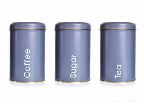 DA26341-3 KS SADA kovových okrúhlych dóz, Tea, Sugar, Coffee