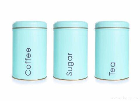 DA26342-3 KS SADA kovových okrúhlych dóz Tea, Sugar, Coffee