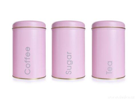 DA26343-3 KS SADA kovových okrúhlych dóz, Tea, Sugar, Coffee
