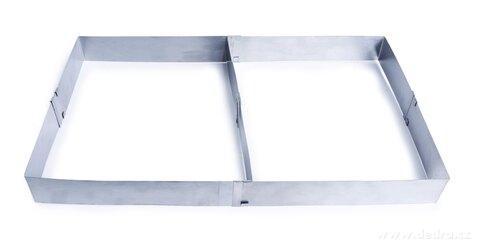 DA26874-Nastaviteľná obdĺžniková forma XXL z nerezovej ocele s odnímateľnou prepážkou