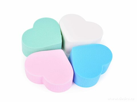 FC27021-4 ks kozmetické hubky na make-up v tvare srdca