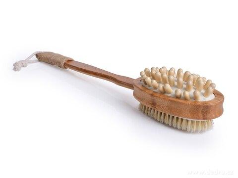 DA27073-2v1 OBOJSTRANNÝ MASÁŽNY KARTÁČ na umývanie s bambusovou rúčkou GoEco®