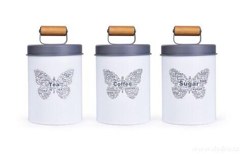 DA27541-3 ks SADA kovových guľatých dóz MOTÝĽ Tea, Sugar, Coffee