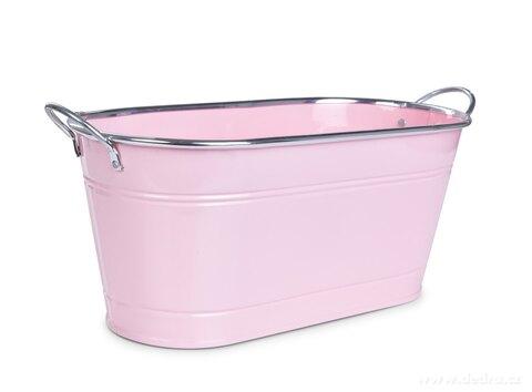 DA27593-33 cm Dekoratívna kovový truhlík, voľne stojace, pastelovo ružový