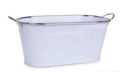 DA27592-33 cm Dekoratívna kovový truhlík, voľne stojace, biely
