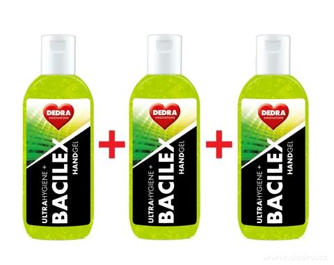 BB01701S-SADA 2 + 1 ZADARMO čistiaci gél na ruky, 65% alkoholu, handGEL BACILEX ultraHYGIENE +