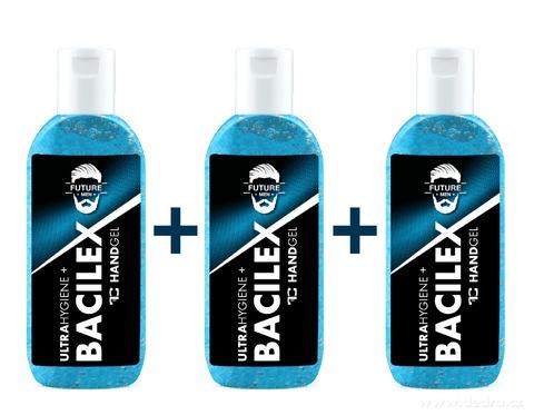 BB0738S-SADA 2 + 1 ZADARMO čistiaci gél na ruky PLATINUM, 65% alkoholu, handGEL BACILEX ultraHYGIENE +