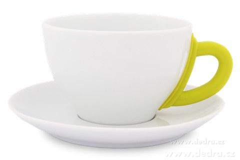 DA6190-Porcelánový hrnček s tanierikom jasne zelený