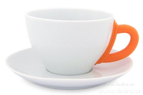 DA6192-Porcelánový hrnček s tanierikom oranžový