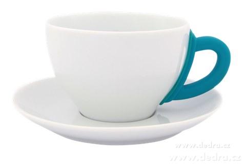 DA6193-Porcelánový hrnek s podšálkem tyrkysový