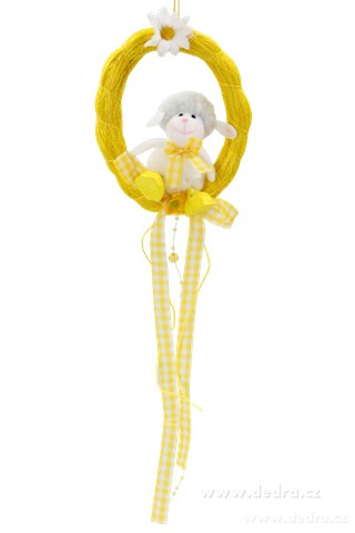 DA6819-Plyšová ovečka sediaci v žltom oválku, celk.d.50 cm