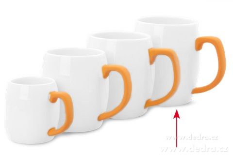 DA69663-Hrnček s uchom 600 ml oranžový porcelán / silikon