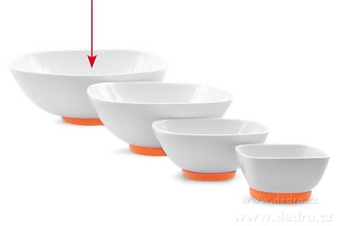 """DA69713-Porcelánová misa """"XXL 2600 ml, oranžová porcelán / silikon"""