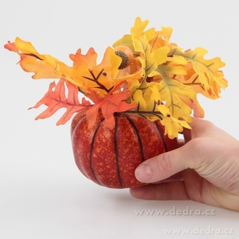 DA7137-Ozdobná dekorácia v jesenných farbách 21 cm v tvare tekvice