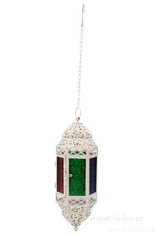 DA74502-Závesná lampáš s farebnými výplňami slonovinová kosť