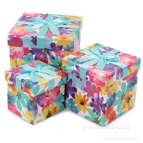 DA7472-Sada 3 ks úložný box kvetinové, štvorcové