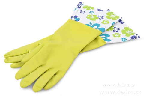 DA7511-FLOWER dlhé upratovacie rukavice