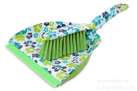 DA7515-FLOWER veľký metlička s lopatkou zeleno-farebný