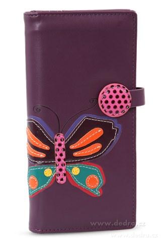 FC76622-Dámska peňaženka s aplikáciou motýľa fialová
