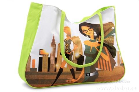 FC77362-Veľká textilná taška s uzatváraním na zips zelená fashion