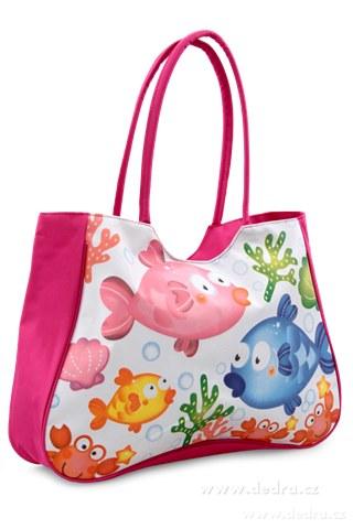 FC77382-Veľká textilná taška s uzatváraním na zips ružová rybičky