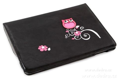 FC77272-Puzdro / stojan na iPad s aplikáciou sovy a kvetín, čierne