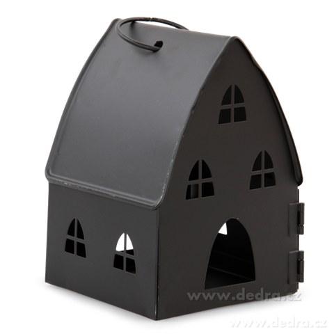 DA74613-Kovová lampáš v dizajne chalúpky čierna
