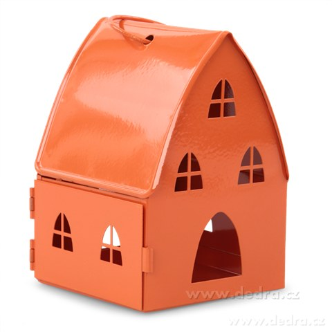 DA74618-Kovová lampáš v dizajne chalúpky oranžová