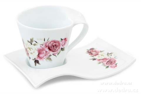 DA81092-Hrnček TWIST 250ml s tanierikom s romantickými kvetmi
