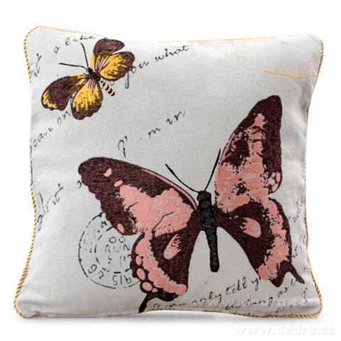 FC81163-Gobelíny poťah na vankúš obojstranný pink butterfly