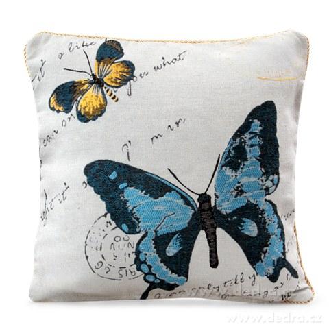 FC81165-Gobelíny poťah na vankúš obojstranný blue butterfly