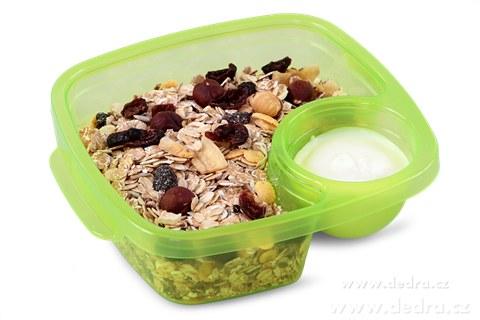 DA83553-Duobox 500ml + 100ml dóza na potraviny zelený