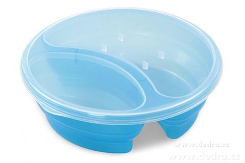 DA83571-Duobox 700ml + 300ml dóza na potraviny modrý guľatý