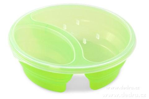 DA83572-Duobox 700ml + 300ml dóza na potraviny zelený okrúhly